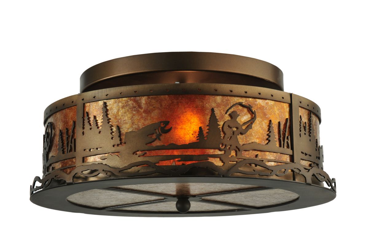 "Meyda Tiffany 110647 16"" W Fly Fishing Creek Flush Mount Ceiling"