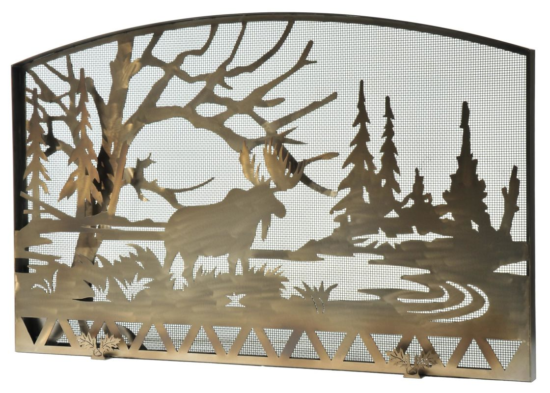 "Meyda Tiffany 111149 61"" W X 38"" H Moose Creek Fireplace Screen"