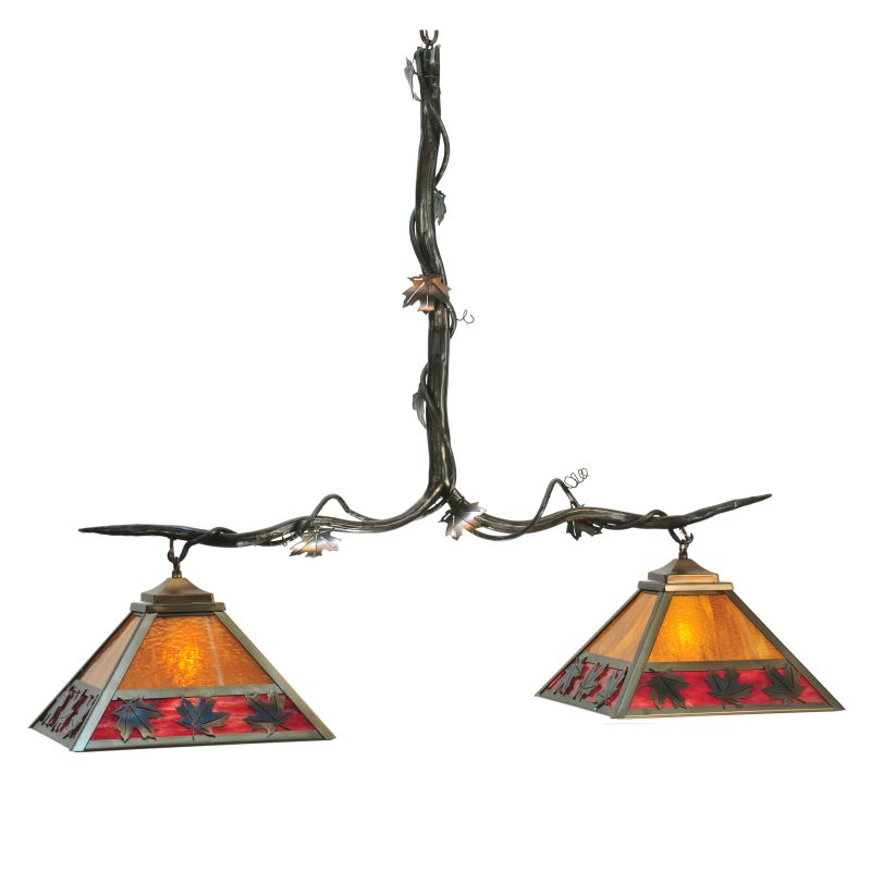"Meyda Tiffany 111207 42"" L Maple Leaf 2 Light Island Chandelier"