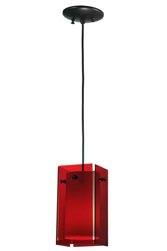 "Meyda Tiffany 111338 5"" Square Quadrato Red Mini Pendant Red Indoor"
