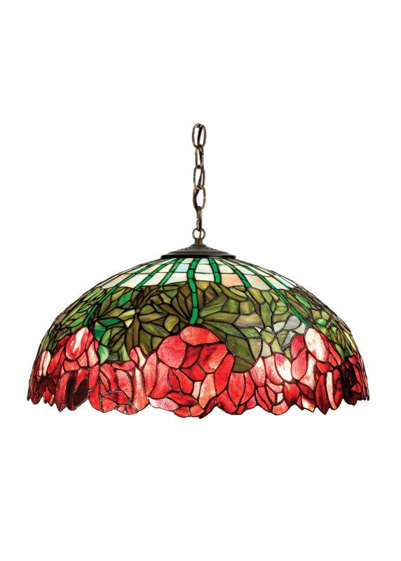 "Meyda Tiffany 111696 22"" W Cabbage Rose Pendant Burgundy Purple Indoor"