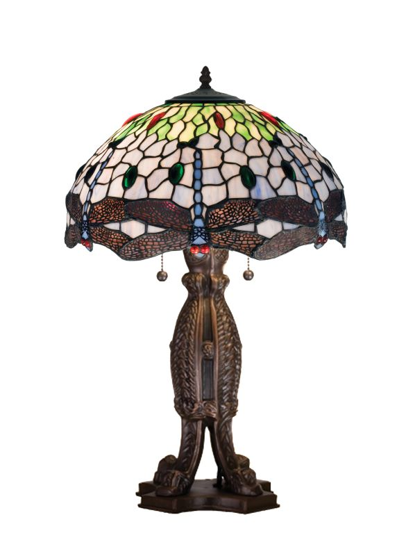 """Meyda Tiffany 111700 24.5"""" H Tiffany Hanginghead Dragonfly Table Lamp"""