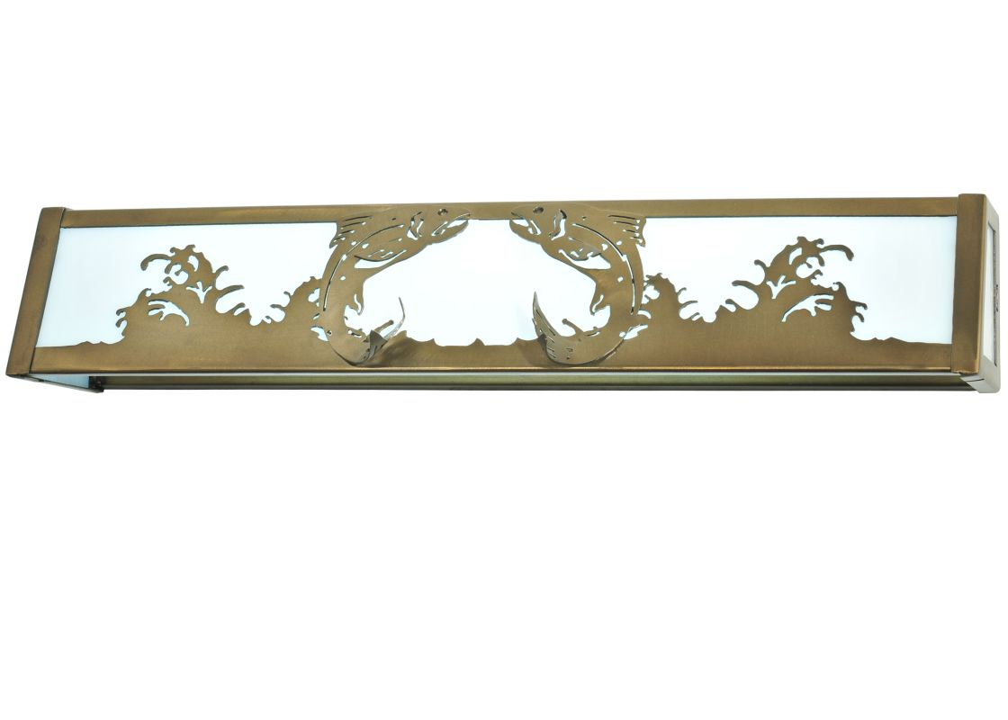 """Meyda Tiffany 111842 24"""" W Leaping Trout Vanity Light Antique Copper"""
