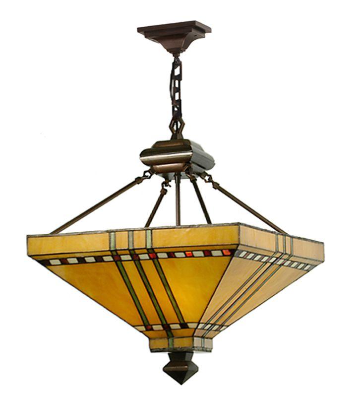 "Meyda Tiffany 112757 17"" Square Prairie Corn Inverted Pendant Burgundy"