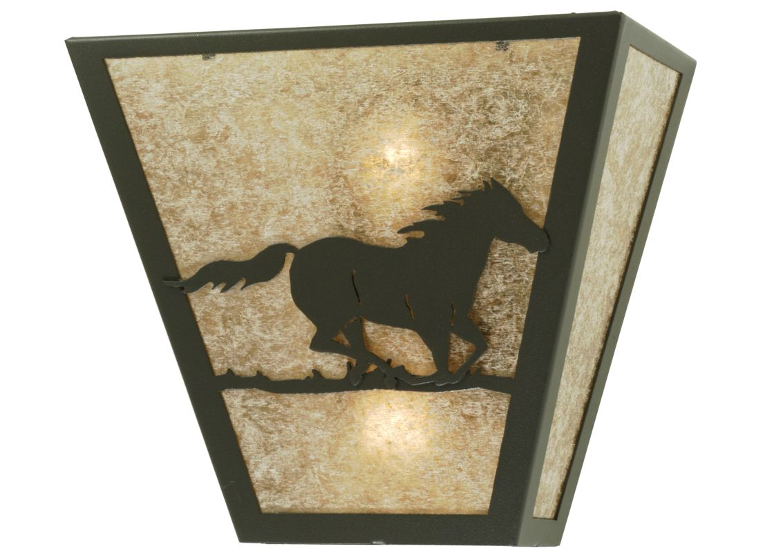 "Meyda Tiffany 112770 13"" W Wild Horse Right Wall Sconce Wrought Iron /"
