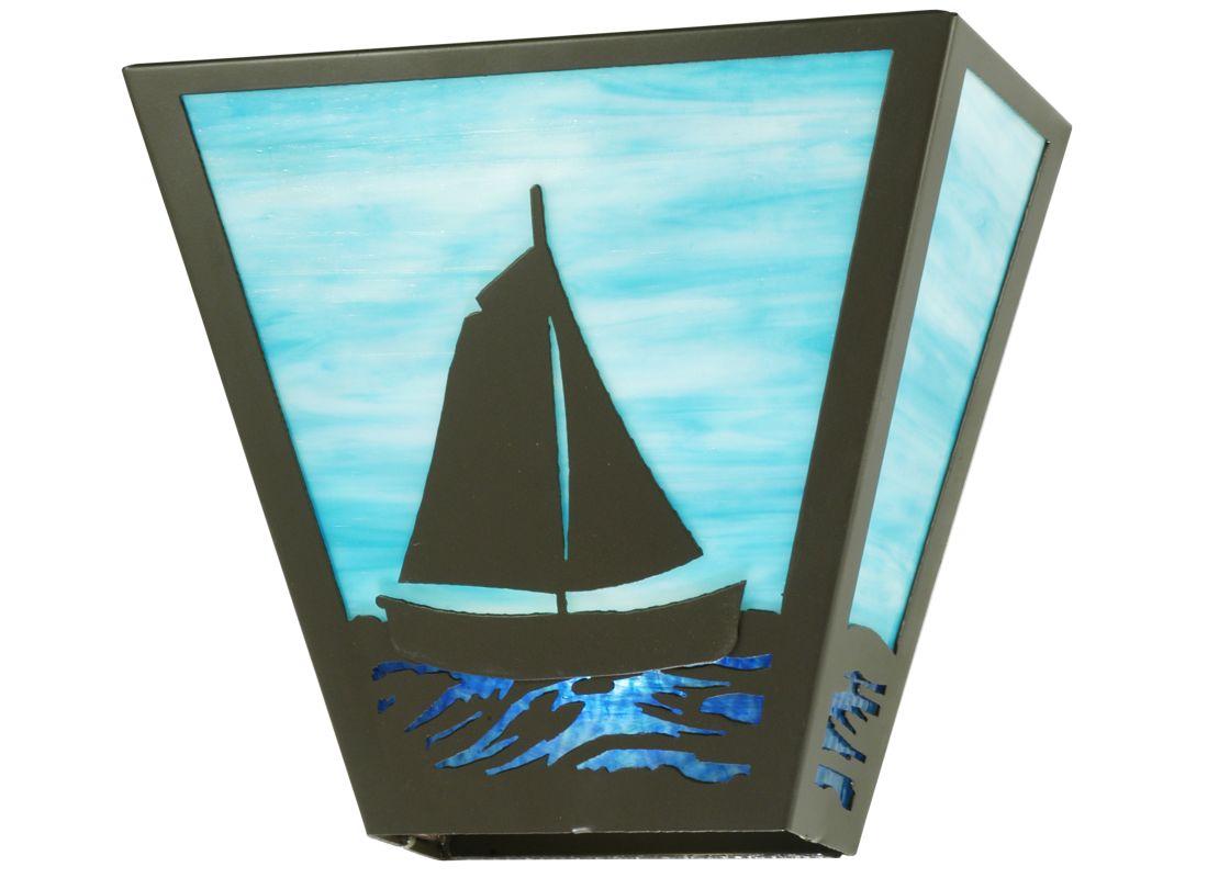 "Meyda Tiffany 112919 13"" W Sailboat Wall Sconce Timeless Bronze Indoor"