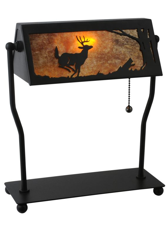 "Meyda Tiffany 113076 12.5"" H Deer On The Loose Bankers Lamp Black /"