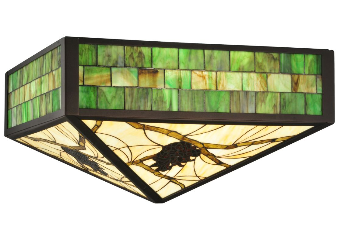 "Meyda Tiffany 113227 23"" Square Green Pine Branch Mission Shade"
