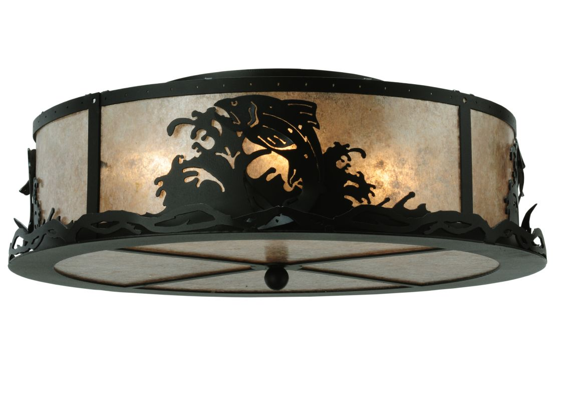 """Meyda Tiffany 113622 22"""" W Leaping Trout Flush Mount Ceiling Fixture"""