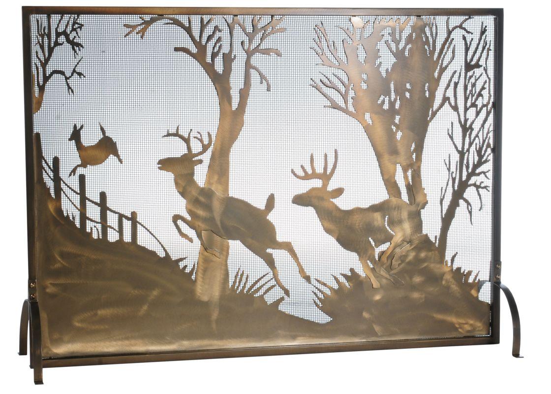 "Meyda Tiffany 113656 44"" W X 31.5"" H Deer On The Loose Fireplace"