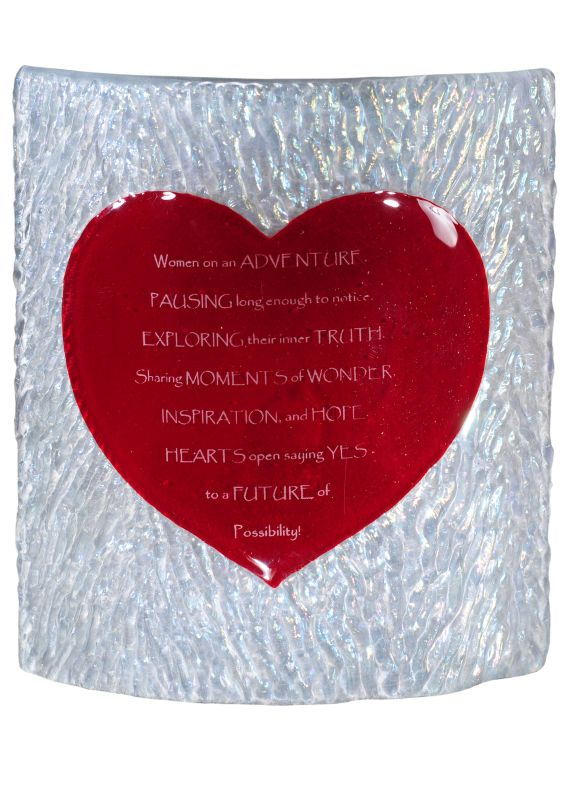 """Meyda Tiffany 114106 7"""" W Personalized Heart Fused Glass Panel Red /"""