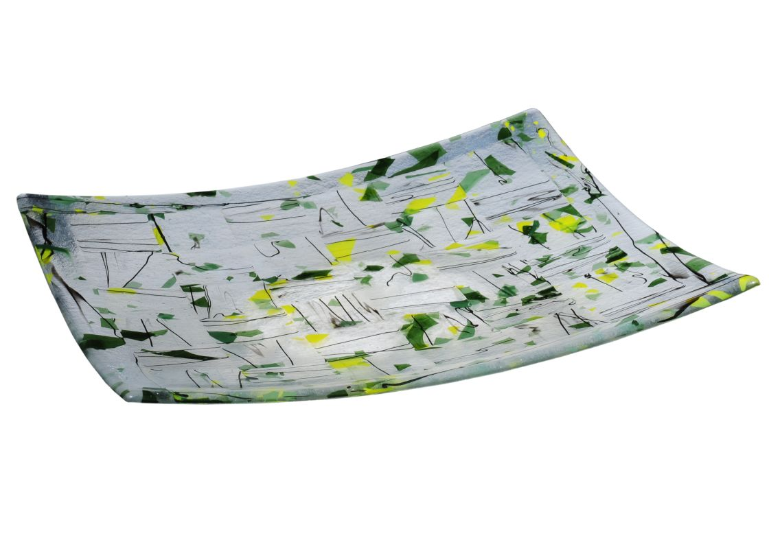 "Meyda Tiffany 114432 14"" Square Autumn Fused Glass Plate Yellow Green"