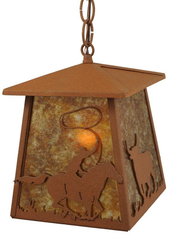 """Meyda Tiffany 114537 7"""" W Cowboy & Steer Lantern Pendant Rust / Amber"""