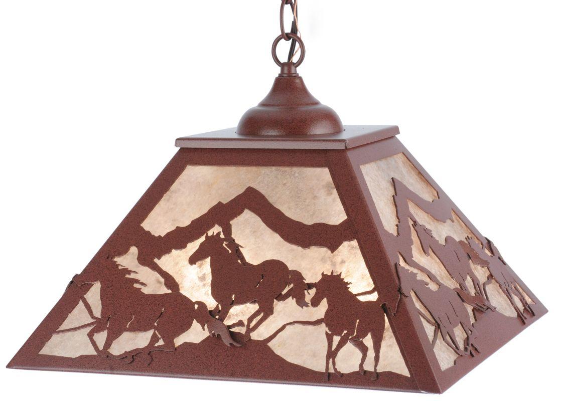 "Meyda Tiffany 114903 16"" Square Wild Horses Pendant Rust / Silver Mica"