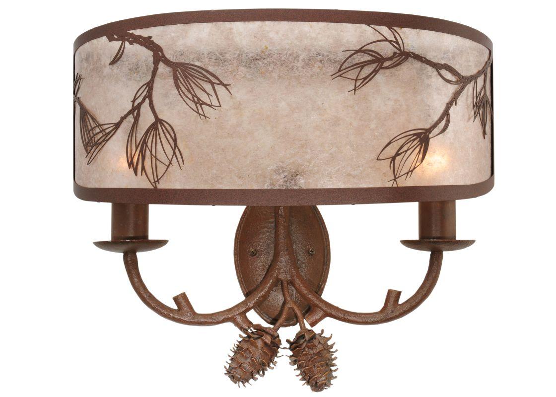 """Meyda Tiffany 115198 20"""" W Balsam Pine Wall Sconce Cafe Noir-Rust /"""