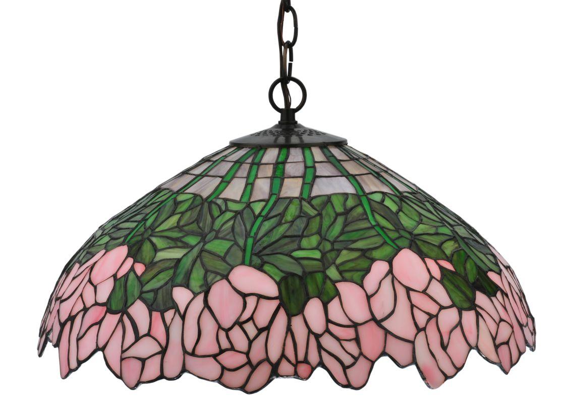 "Meyda Tiffany 118360 18"" W Cabbage Rose Pendant Lilac Pink Indoor"