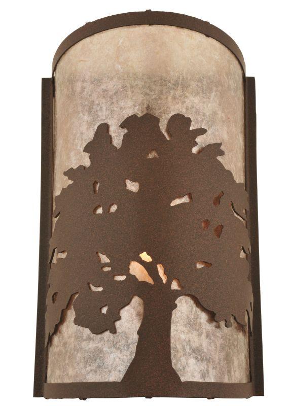 """Meyda Tiffany 118535 7.75"""" W Oak Tree Wall Sconce Cafe Noir / Silver"""