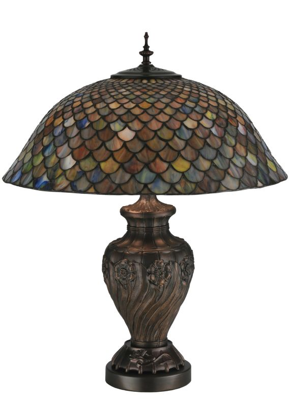 "Meyda Tiffany 118588 24"" H Tiffany Fishscale Table Lamp Green / Blue"