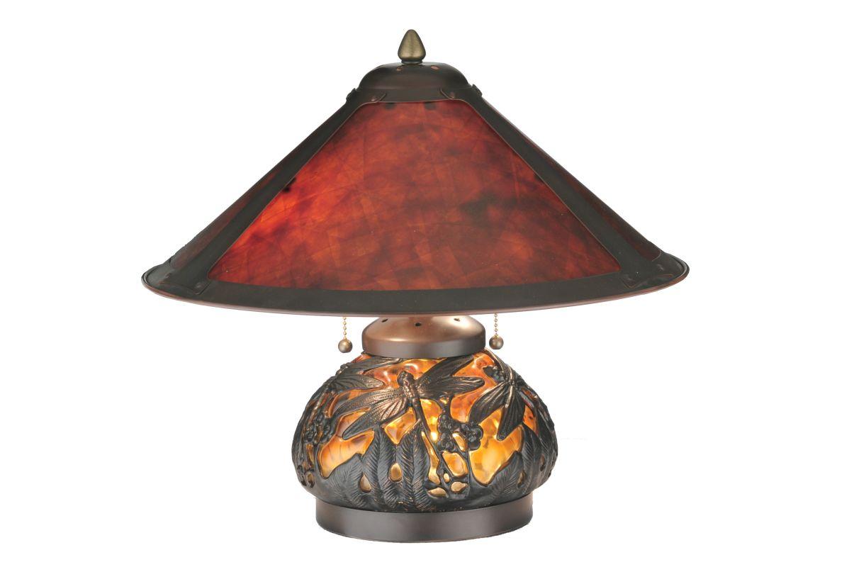 "Meyda Tiffany 118681 15.5"" H Van Erp Amber Mica Lighted Base Table"