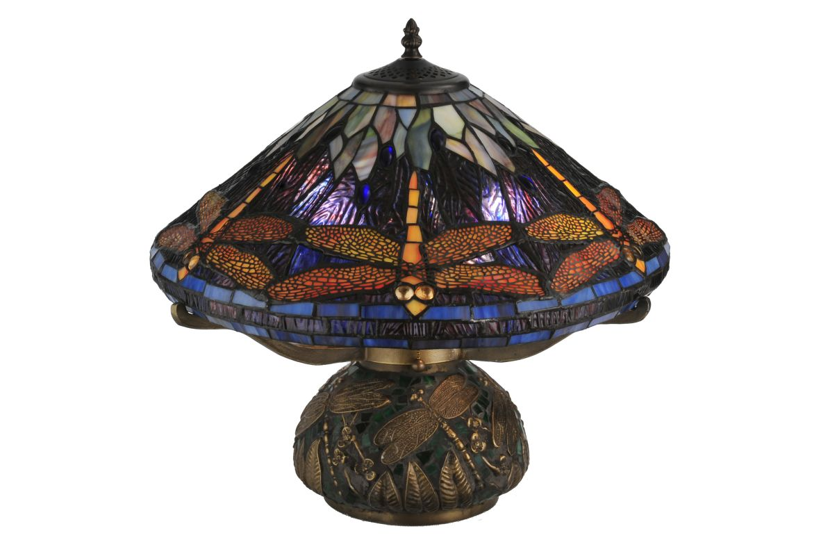 "Meyda Tiffany 118749 16"" H Tiffany Dragonfly Cone Table Lamp Purple /"