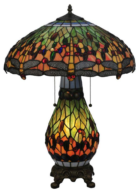 """Meyda Tiffany 118845 25"""" H Tiffany Hanginghead Dragonfly Lighted Base"""