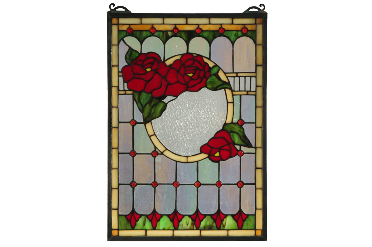 "Meyda Tiffany 119443 14"" W X 20"" H Morgan Rose Stained Glass Window"
