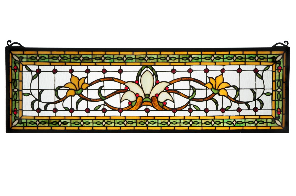 "Meyda Tiffany 119444 33"" W X 10"" H Fairytale Transom Stained Glass"
