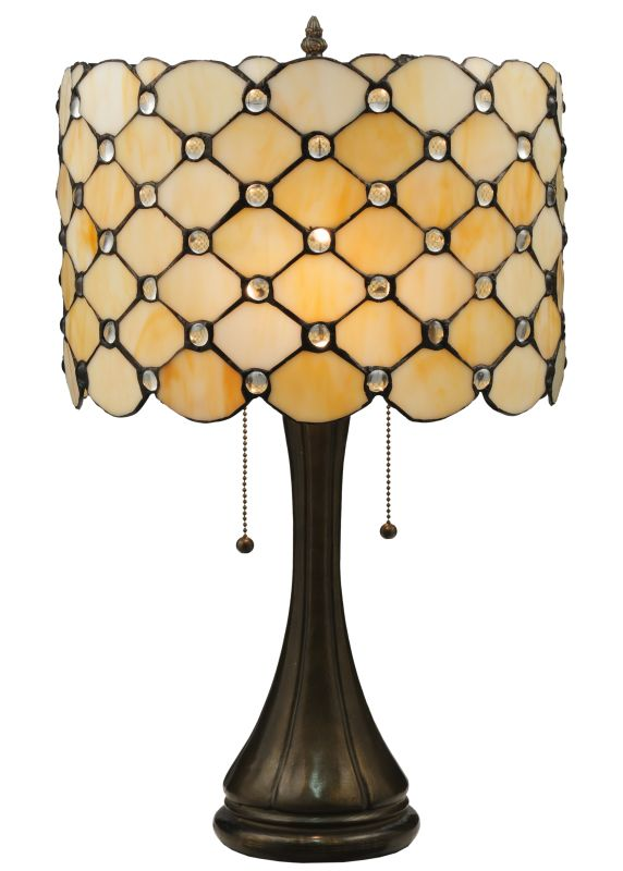 "Meyda Tiffany 119589 21"" H Giacomo Table Lamp Beige Clear Lamps"