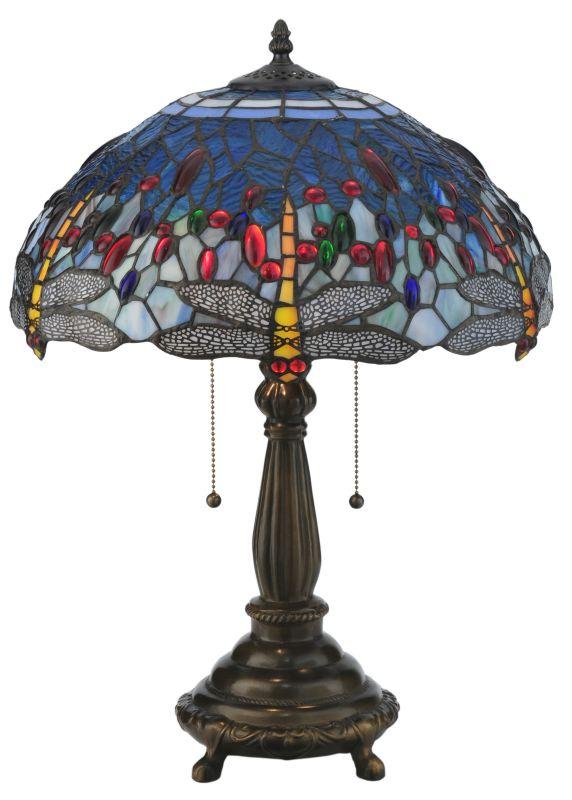 """Meyda Tiffany 119650 22"""" H Tiffany Hanginghead Dragonfly Table Lamp"""