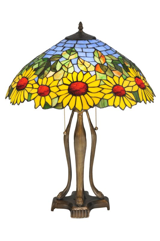 "Meyda Tiffany 119682 24"" H Wild Sunflower Table Lamp Purple / Blue"