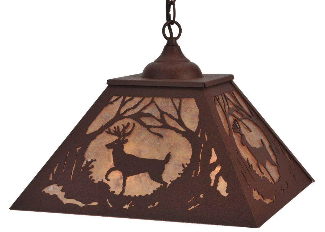 "Meyda Tiffany 119695 15.5"" Square Deer At Dawn Pendant Rust / Silver"