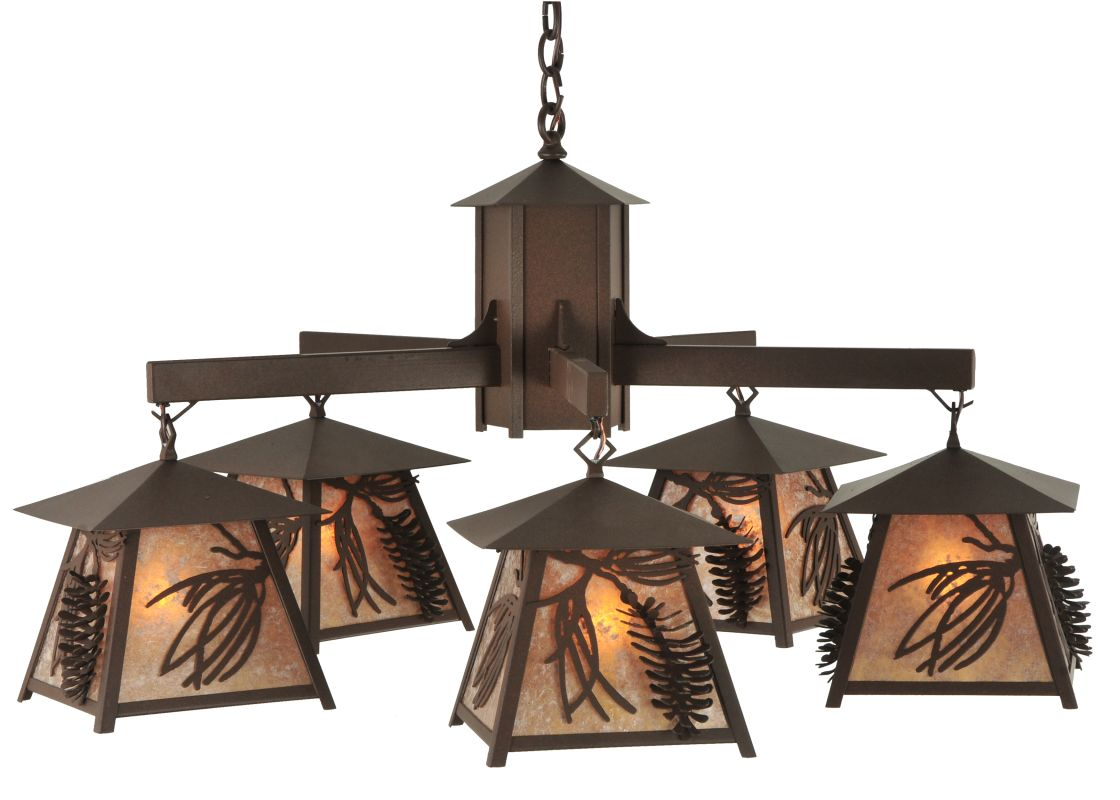 "Meyda Tiffany 120554 40"" W Stillwater Scotch Pine 5 Light Chandelier"