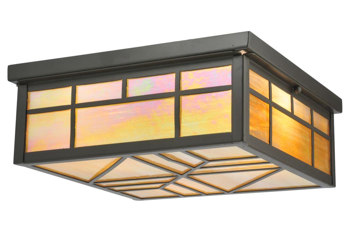 "Meyda Tiffany 120637 12.75"" Square Santa Fe Flush Mount Ceiling"