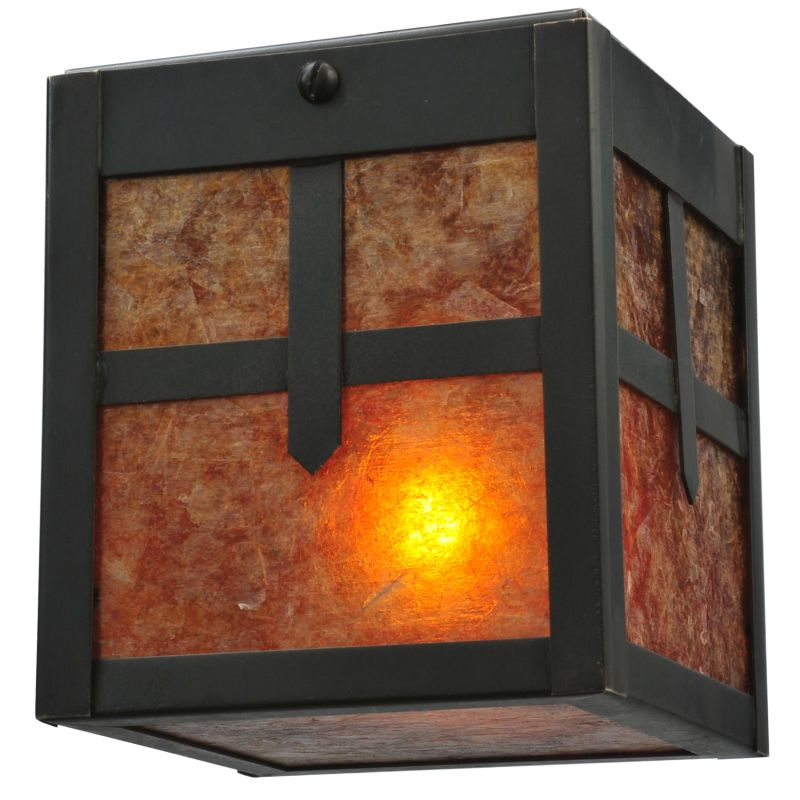 "Meyda Tiffany 120654 4"" Square Hyde Park Cross Mission Flush Mount"