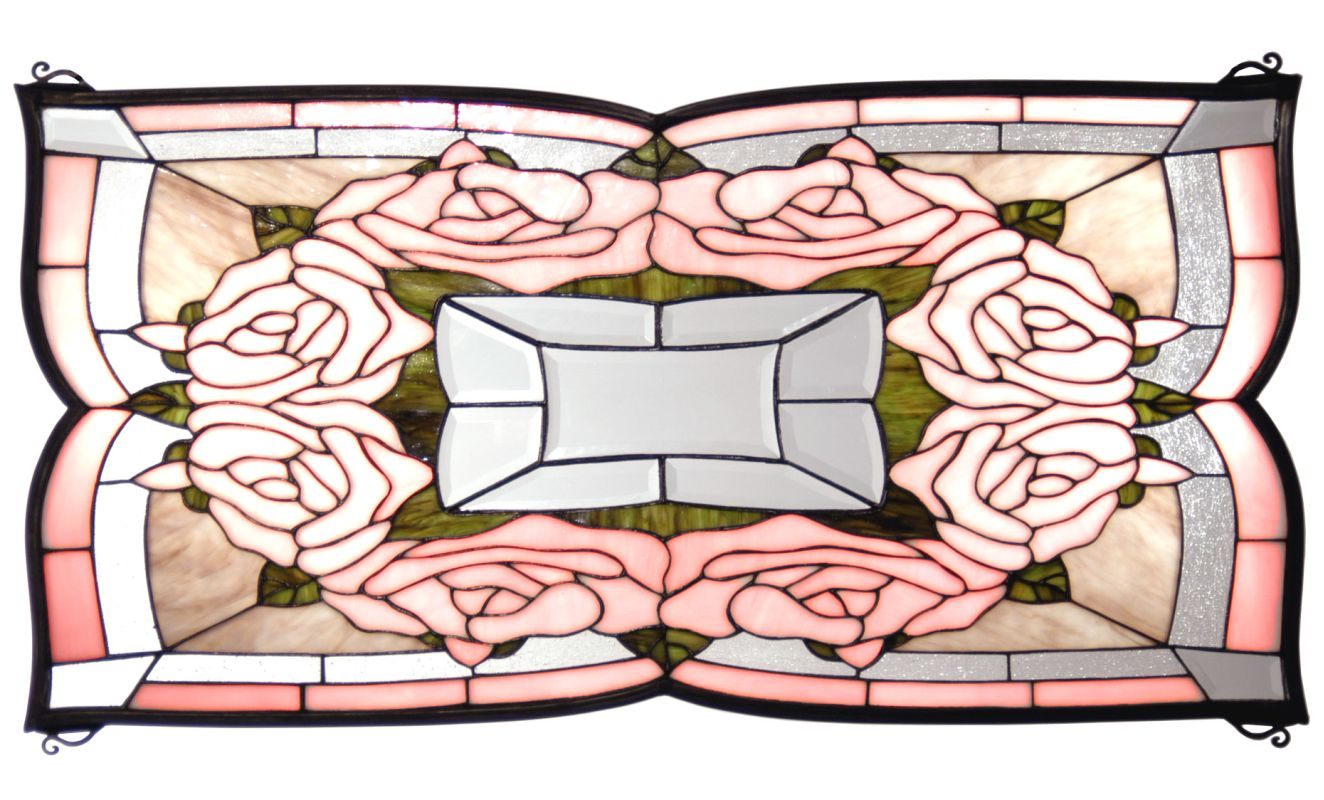 "Meyda Tiffany 12085 32"" W X 16"" H Ring Of Roses Stained Glass Window"