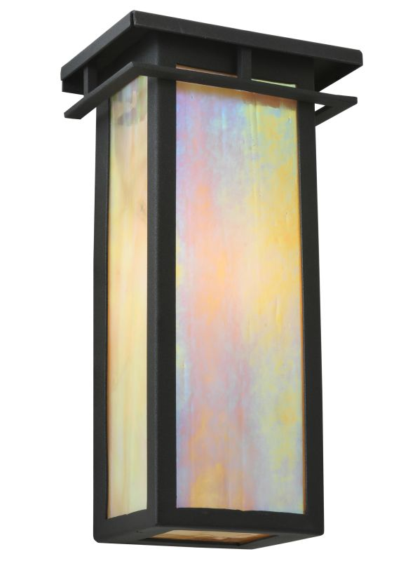 "Meyda Tiffany 121431 6"" W Portico Mission Wall Sconce Black Indoor"