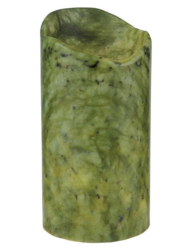 "Meyda Tiffany 121498 4"" W X 8"" H Jadestone Green Uneven Top Candle"