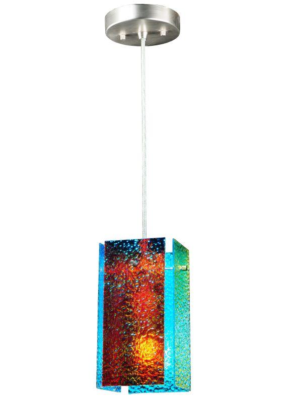 """Meyda Tiffany 122417 7"""" W Quadrato Fire And Ice Granite Mini Pendant"""