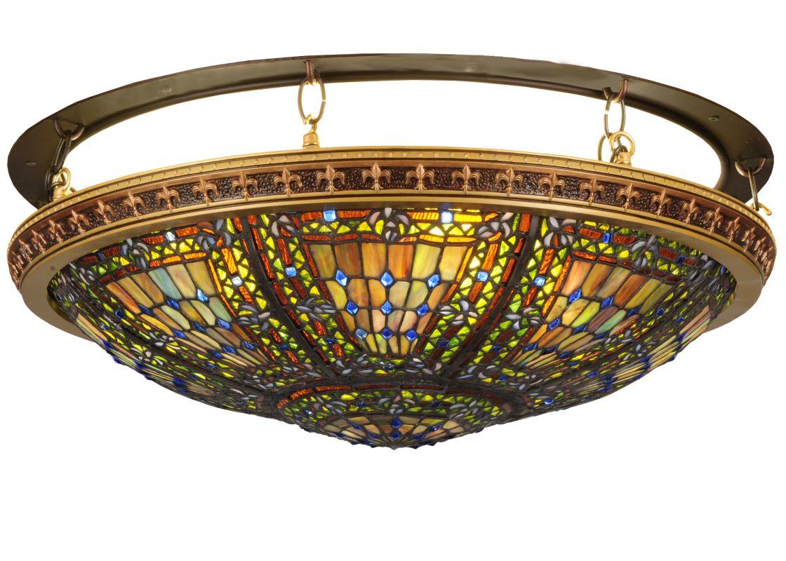 "Meyda Tiffany 122540 28"" W Fleur-De-Lis Flush Mount Ceiling Fixture"