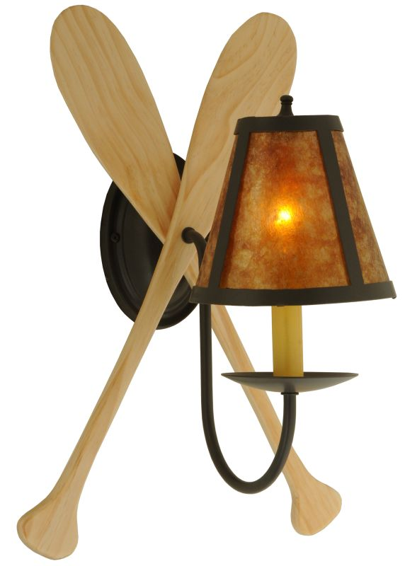 """Meyda Tiffany 123847 12"""" W Paddle Wall Sconce Timeless Bronze Indoor"""