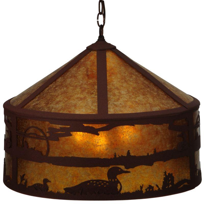 "Meyda Tiffany 126670 20.25"" W Loon On The Lake Pendant Rust / Amber"