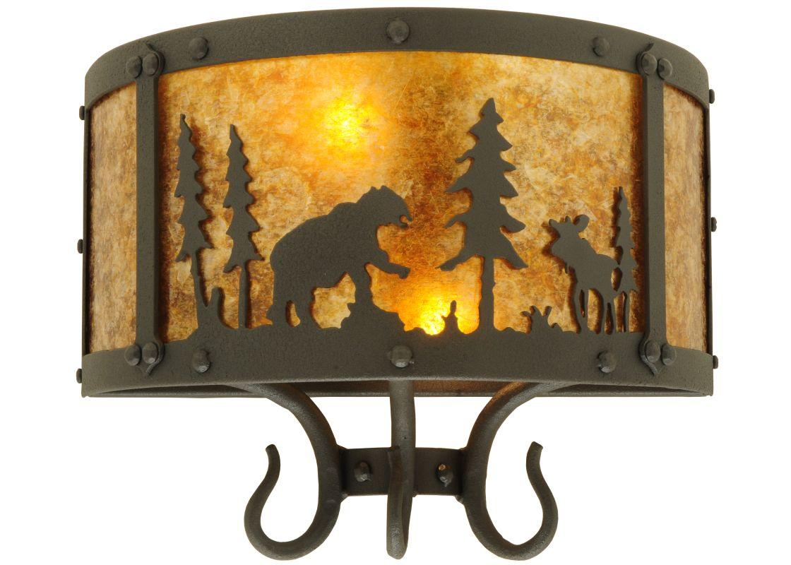"Meyda Tiffany 126762 13.5"" W Wildlife At Pine Lake Wall Sconce Amber"