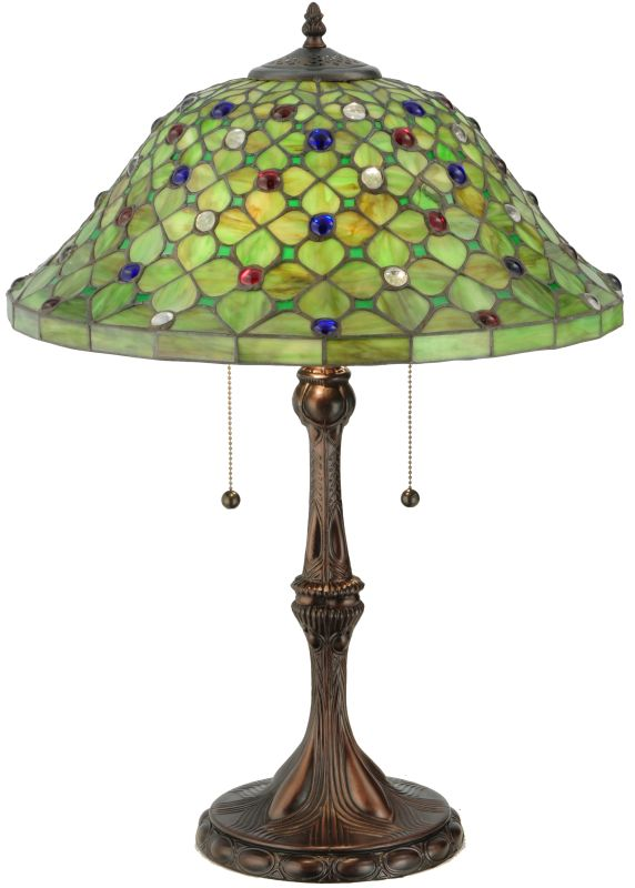 "Meyda Tiffany 127424 25.5"" H Diamond & Jewel Table Lamp Tiffany Green"