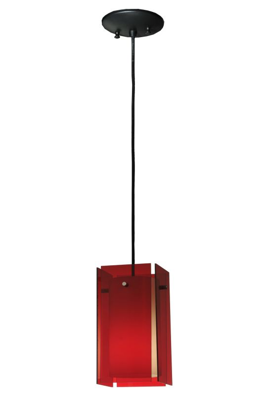"Meyda Tiffany 128830 5.5"" Square Quadrato Red Acrylic Mini Pendant Red"