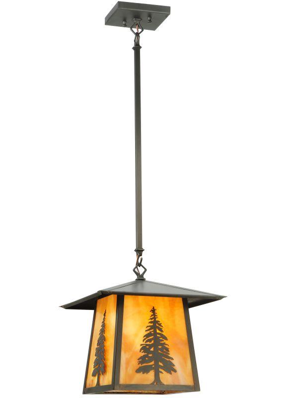 "Meyda Tiffany 129504 12"" Square Stillwater Tall Pine Pendant Beige"