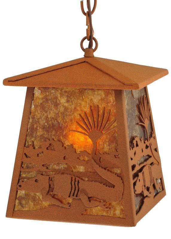 "Meyda Tiffany 129680 7.25"" Square Alligator Lantern Pendant Rust /"