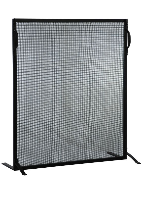 "Meyda Tiffany 130631 29"" W X 34"" H Simple Fireplace Screen Black"