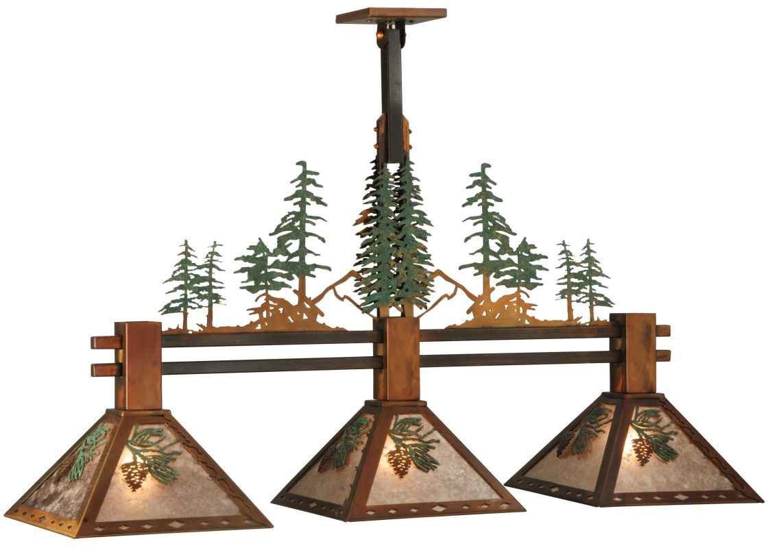 "Meyda Tiffany 130714 44.25"" L Winter Pine 3 Light Island Chandelier"