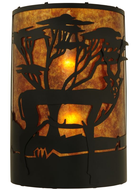 "Meyda Tiffany 130873 12"" W Antelope Wall Sconce Black / Amber Mica"
