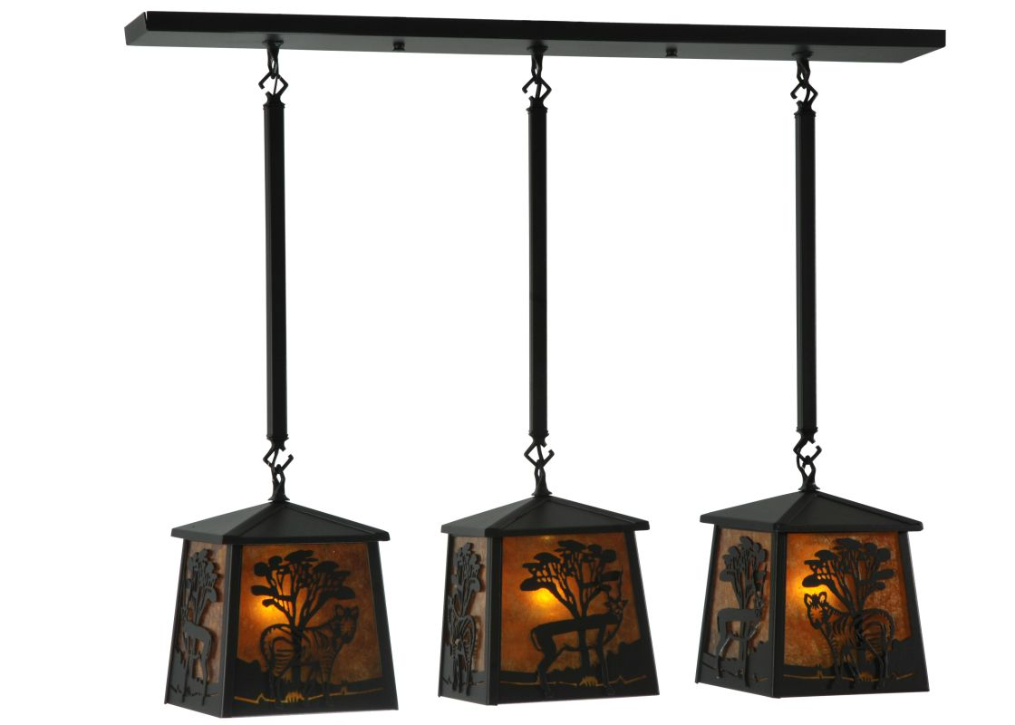 "Meyda Tiffany 130904 38"" Wide Serengeti 3 Light Island Pendant Black /"